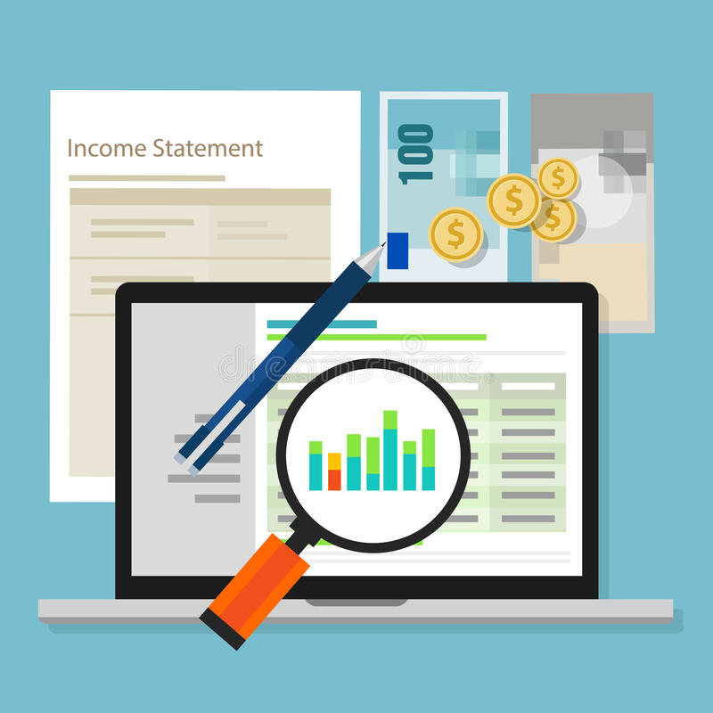 Income statement accounting software money calculator application laptop stock illustration