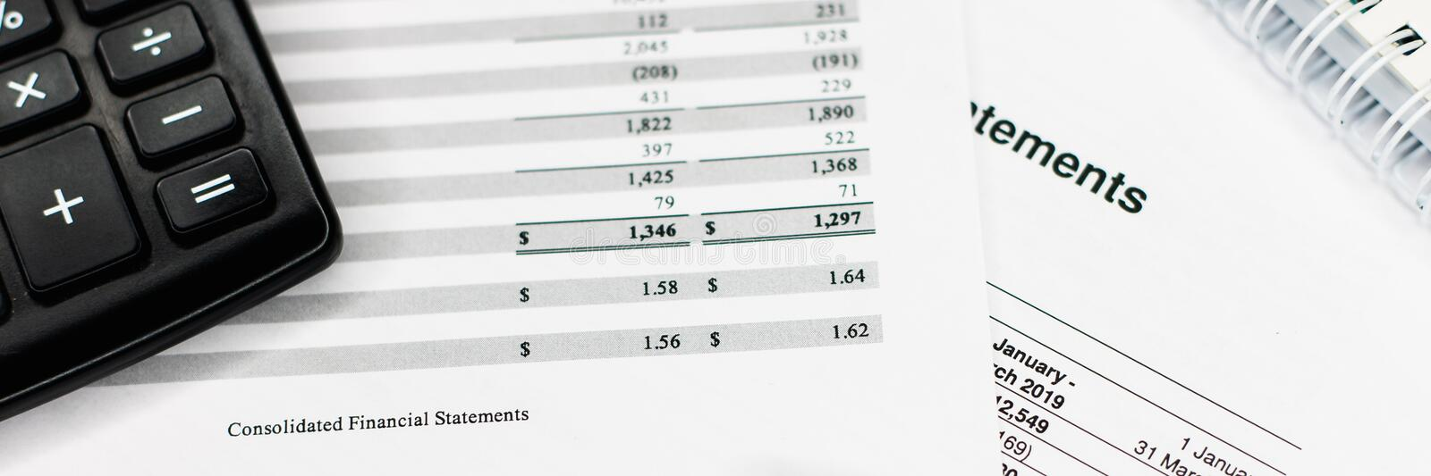 Income statement with detail list, accounting concept for small business. Wide banner, data, finance, money, portfolio, financial, analysis, bank, banking royalty free stock photo