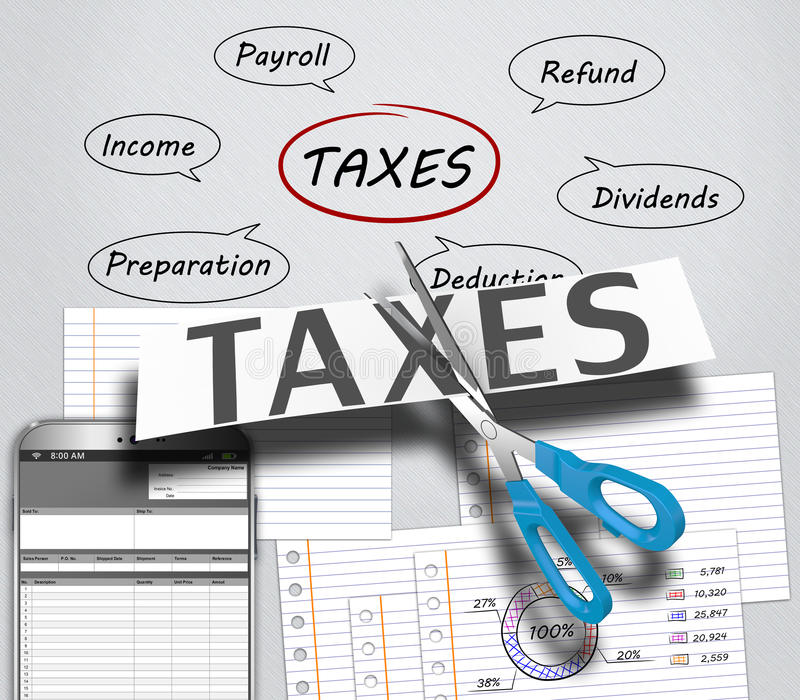 Income tax. As a concept in the background graphs royalty free illustration