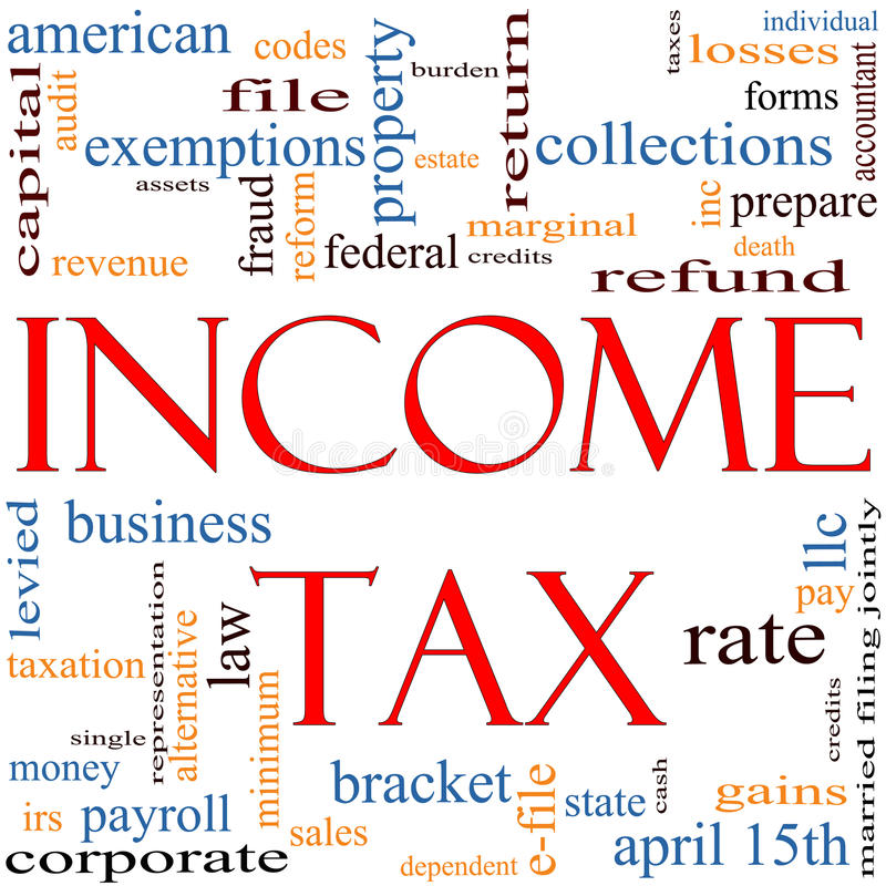 Income Tax Word Cloud concept vector illustration