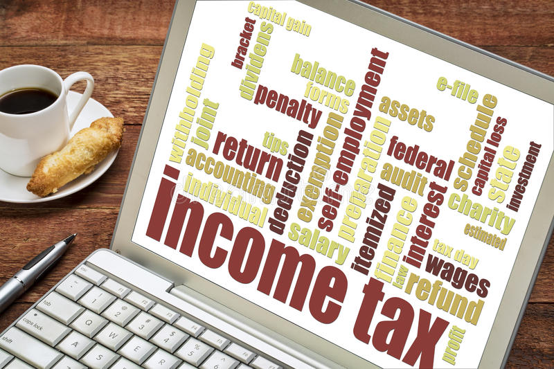 Income tax word cloud. On a laptop screen with a cup of coffee stock images