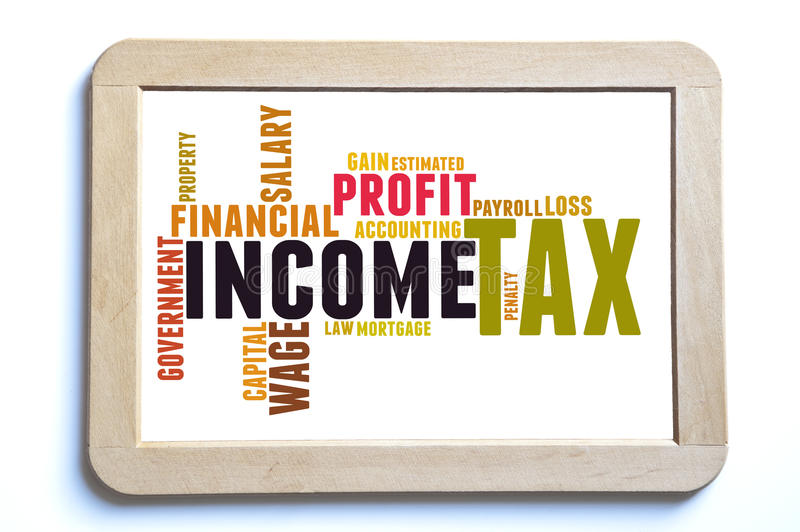 Income tax. Tax word cloud on a wooden board stock photography