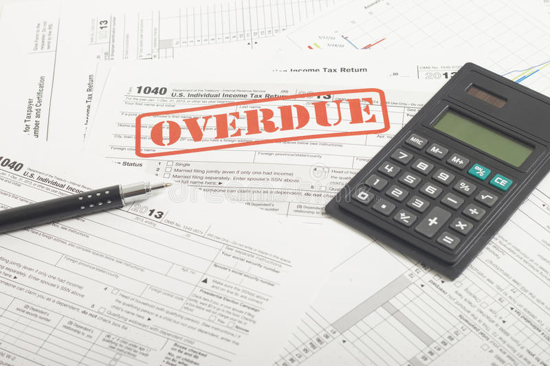 Income Taxes. Close up U.S. taxes papers royalty free stock photos