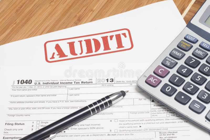 Income Taxes. Close up U.S. taxes papers stock photography