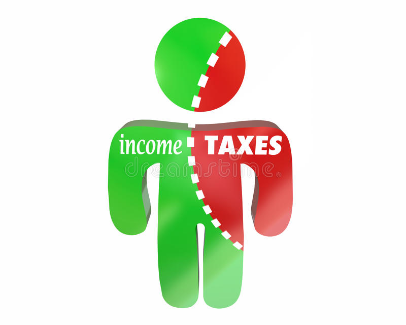 Income Taxes Earnings Money Reduced Cut Share Person. Words stock illustration