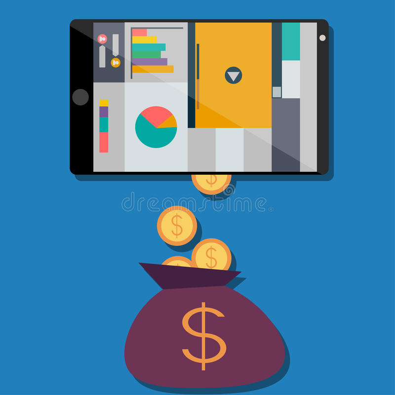 Income from web sites. In a flat design vector illustration