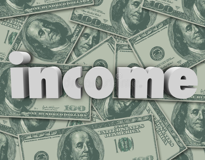 Income Word Hundred Dollar Bills Pile Earn Money Pay Investment. Income word in 3d letters on a stack or pile of hundred dollar bills in American cash or vector illustration