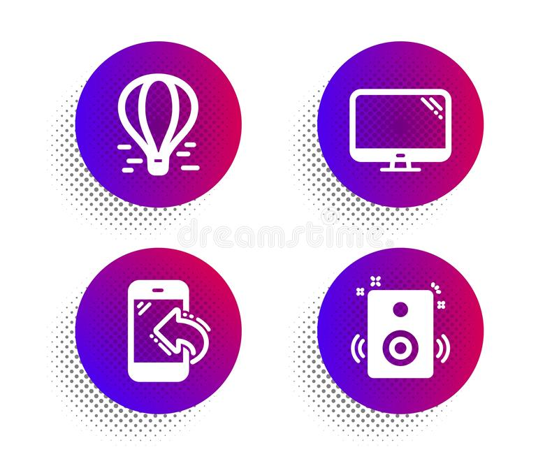 Incoming call, Air balloon and Computer icons set. Speakers sign. Phone support, Flight travel, Pc component. Vector vector illustration