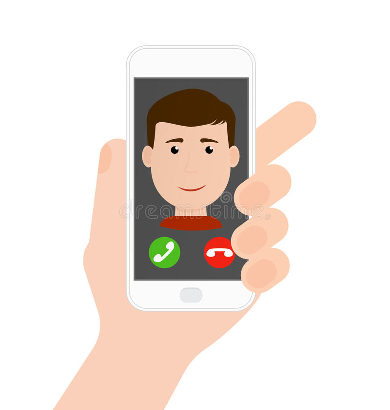 Incoming call from boy/man on phone in hand, flat vector vector illustration