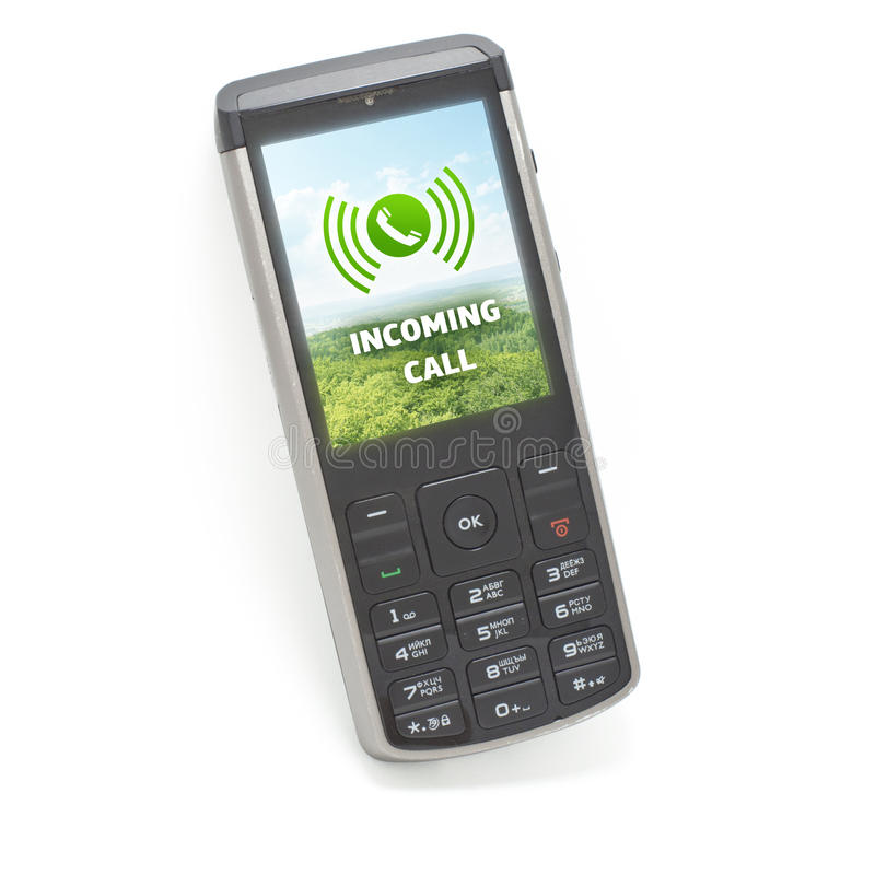 Incoming call on cellphone ISOLATED. Mobile phone showing on screen the alert of an incoming call stock image
