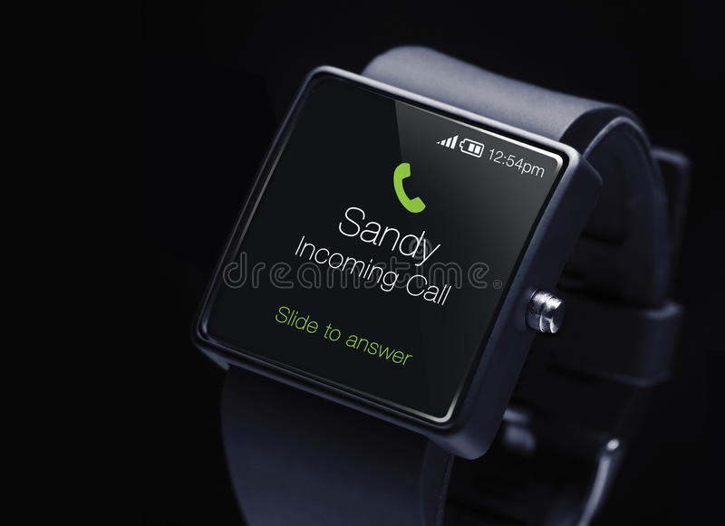 Incoming call icon with smartwatch. A smartwatch is a wearable computing device that closely resembles a wristwatch or other time-keeping device royalty free stock photo