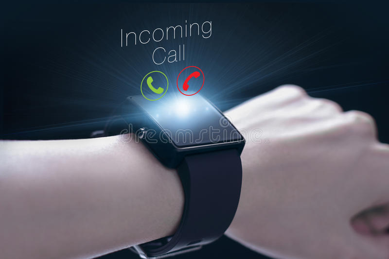 Incoming call icon with smartwatch. A smartwatch is a wearable computing device that closely resembles a wristwatch or other time-keeping device royalty free stock photography