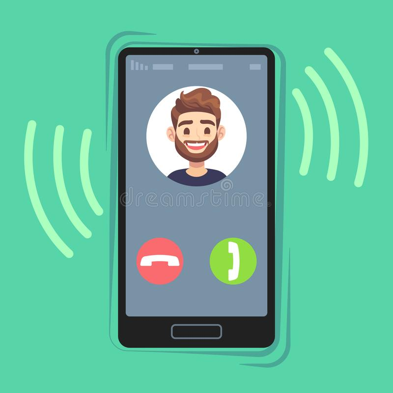 Incoming call on mobile phone. Friend photo on ringing phones screen. Calling display with contact info and buttons. Vector cell conversation income pick flat stock illustration