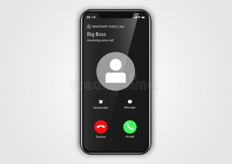 Incoming call screen from iphone user interface. Design vector of mobile application user interface from iphone-x with frame stock illustration