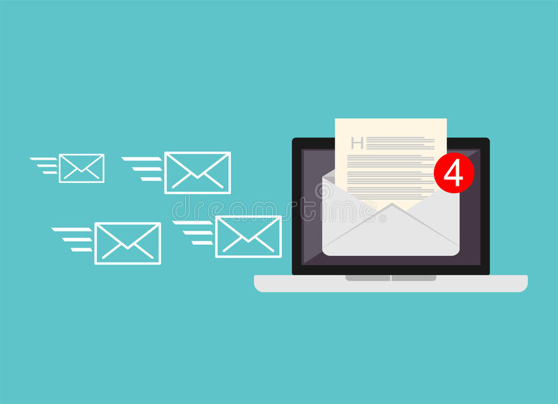 Incoming email. Receiving messages. New mail receive. Inbox message. Inbox email.  stock illustration