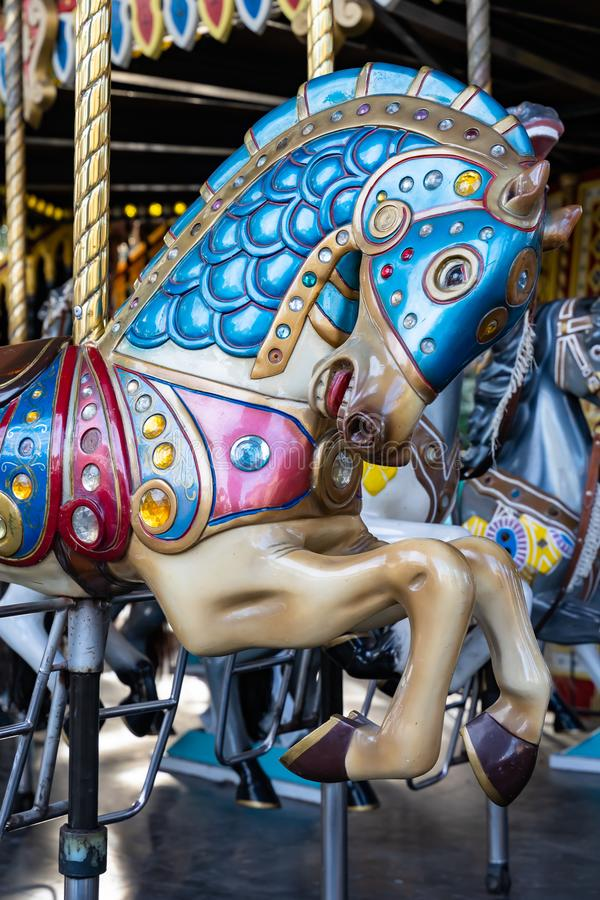 Horse from a classic carousel royalty free stock images