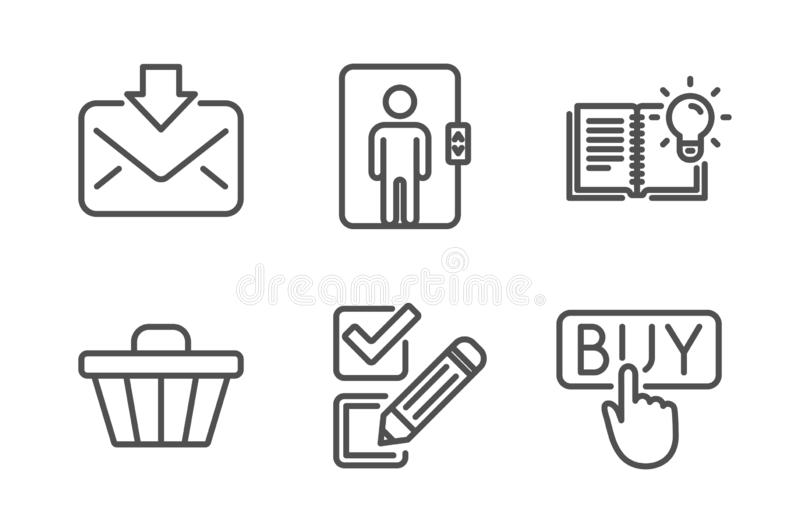 Incoming mail, Shop cart and Elevator icons set. Product knowledge, Checkbox and Buying signs. Vector. Incoming mail, Shop cart and Elevator icons simple set vector illustration