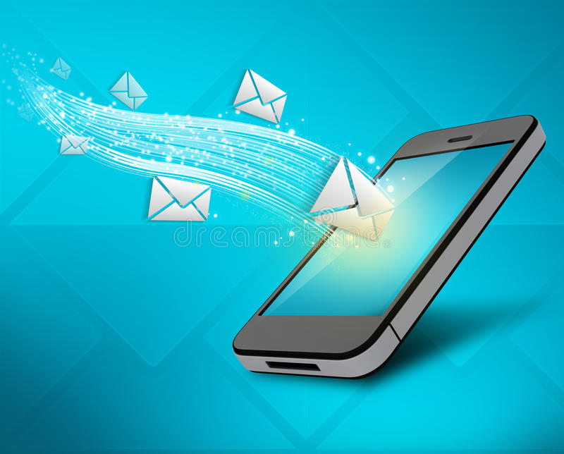 Incoming messages to your mobile phone stock illustration