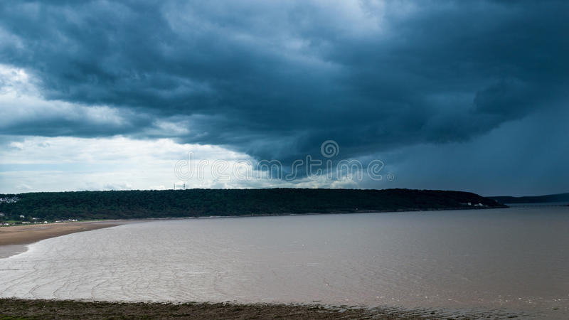 Incoming storm. Cloudy sky captured Sand Bay, Weston Super Mare, Somerset, England, UK stock photography