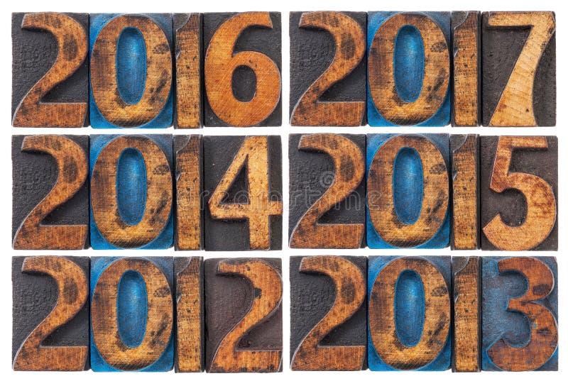 Incoming years 2012-2017 stock image