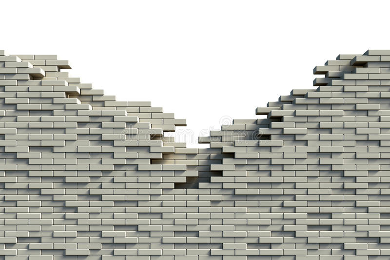 Incomplete brick wall. Incomplete grey brick wall on white background vector illustration