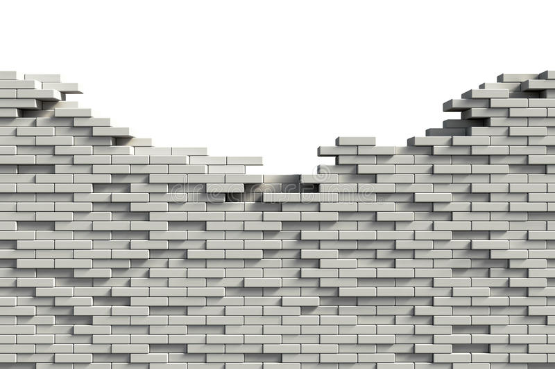Incomplete brick wall. Incomplete white brick wall with copy space royalty free illustration