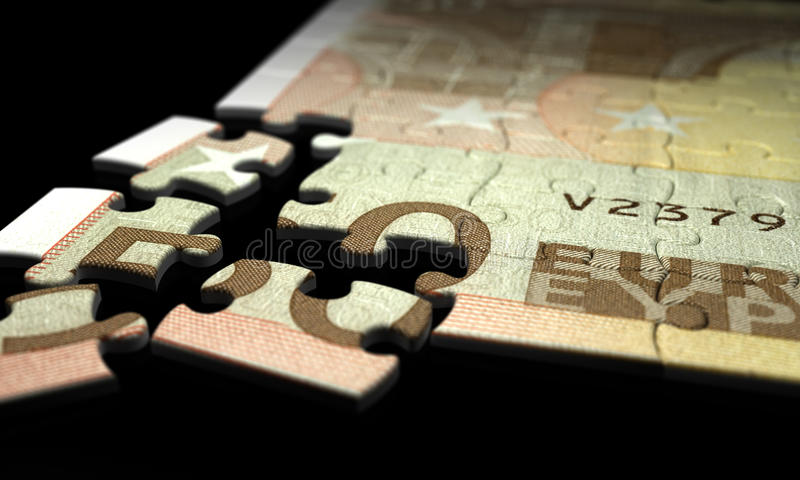 Incomplete Euro Puzzle. (high resolution computer generated image stock illustration