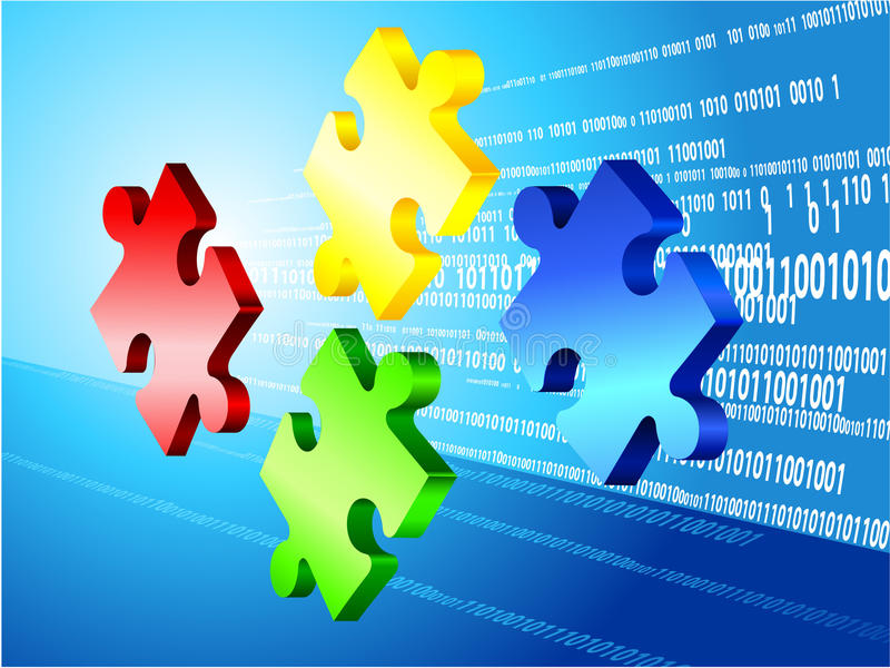 Incomplete Puzzle with Binary Code Background royalty free illustration