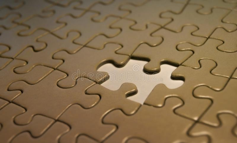Incomplete puzzle symbolic abstract image stock photos