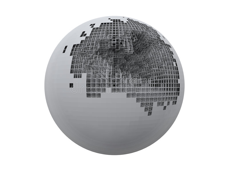Incomplete sphere. An isolated incomplete sphere structure stock illustration
