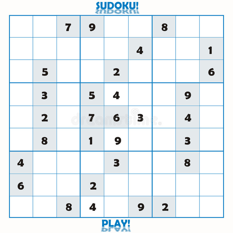 Incomplete Sudoku puzzle. Game board royalty free illustration