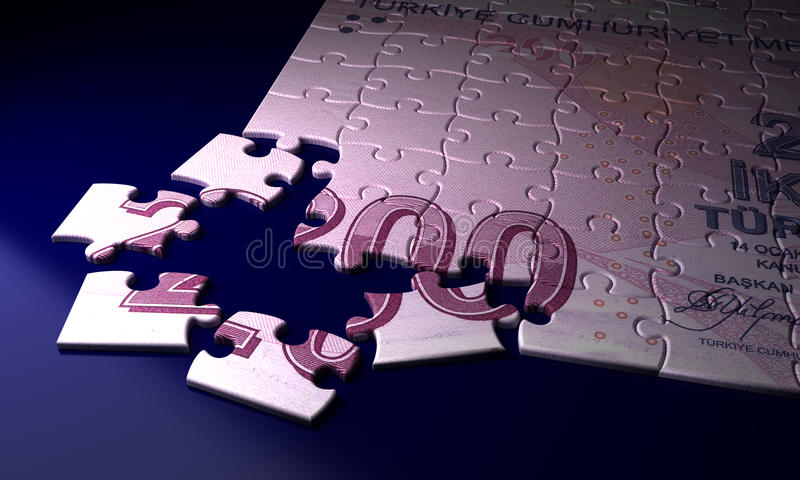Incomplete Turkish Lira. Puzzle (high resolution computer generated image vector illustration
