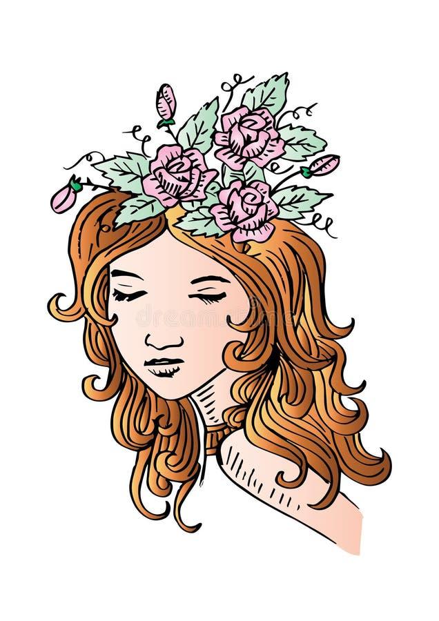 Incompleto de mujer hermosa con las flores en su pelo ilustración del vector