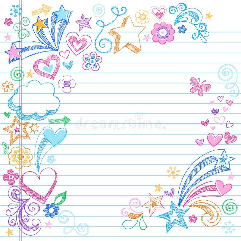 Incompleto a mano de nuevo a Doodles de la escuela ilustración del vector