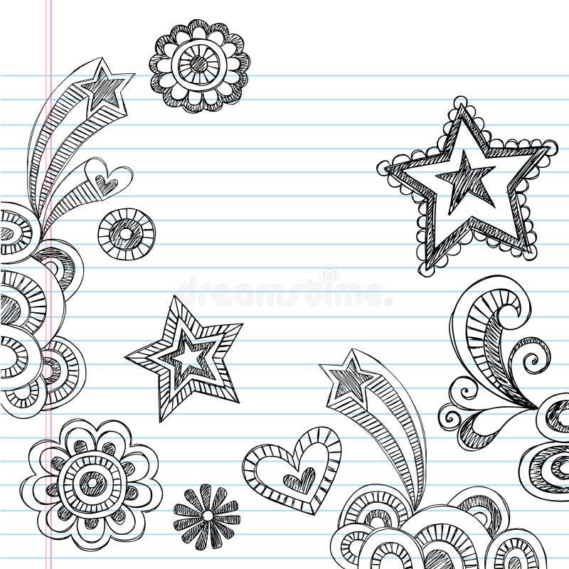 Incompleto a mano de nuevo a Doodles de la escuela libre illustration