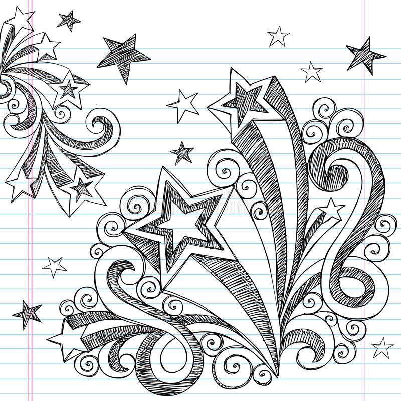 Incompleto a mano de nuevo a Doodles de la escuela stock de ilustración