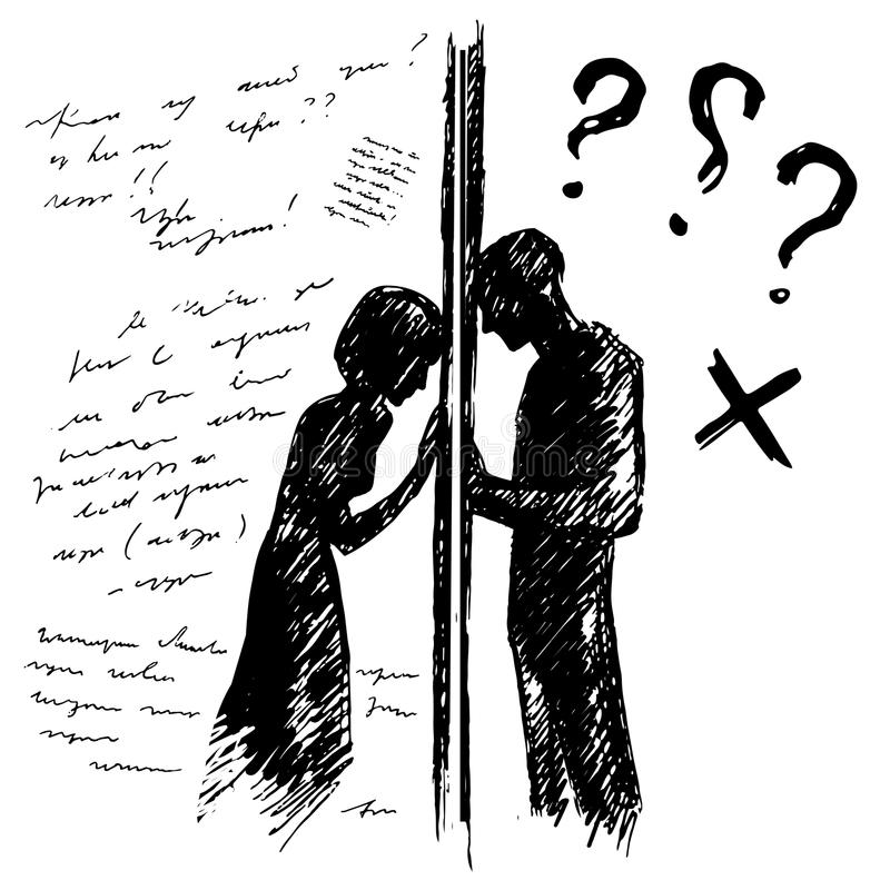 Incomprehension couple man woman talking through the wall. Sketch vector illustration. Misunderstanding conflict royalty free illustration