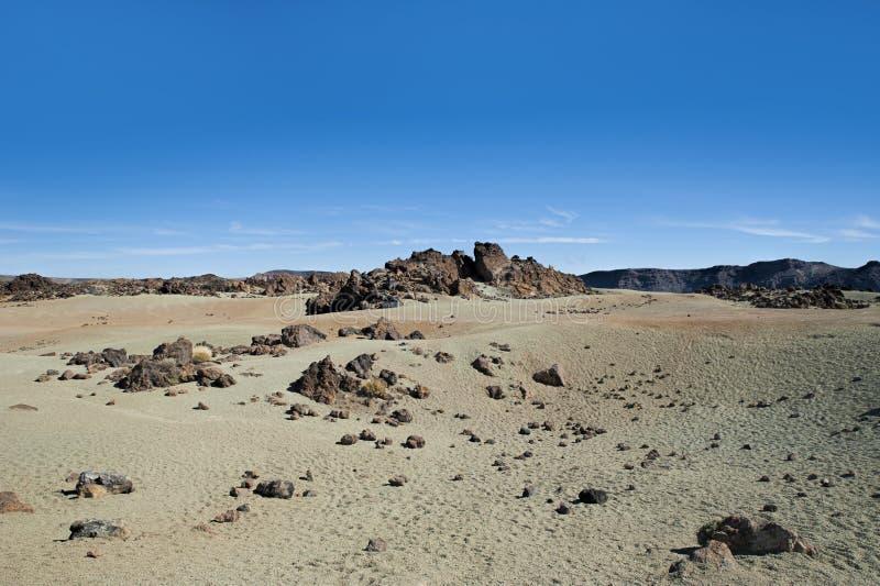 Incomum, deserto-como a paisagem, em Minas de San Jose, no parque nacional de Teide, Tenerife, Ilhas Canárias imagens de stock royalty free