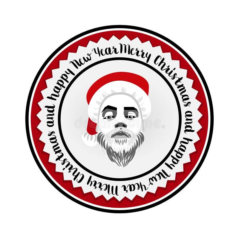 Inconformista atrevido Santa Claus del logotipo plano monocromático ilustración del vector