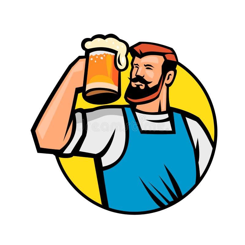 Inconformista barbudo que tuesta la mascota del círculo de la taza de cerveza stock de ilustración