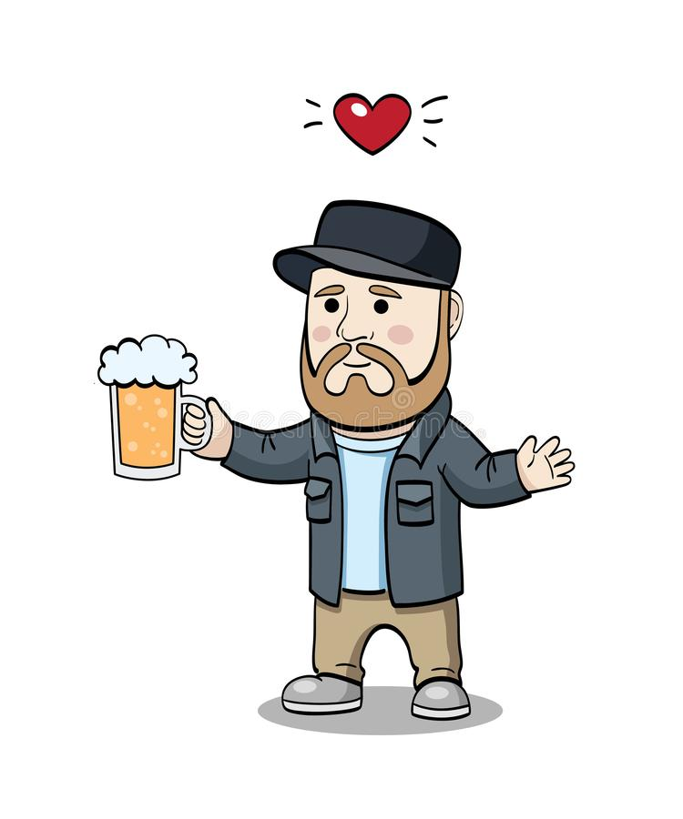 Inconformista con la taza de cerveza ilustración del vector