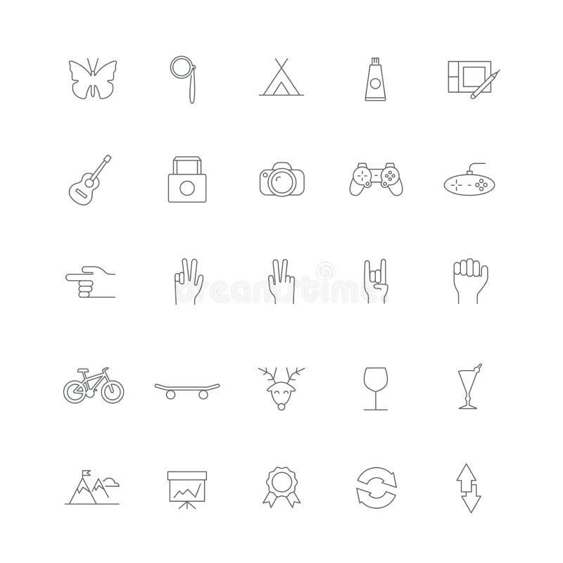 Inconformista de los iconos con los objetos y los caracteres stock de ilustración
