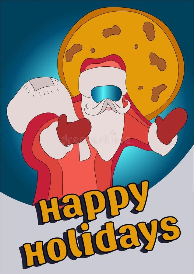 Inconformista de Santa Claus con un bolso de regalos Venta del Año Nuevo, descuentos ilustración del vector
