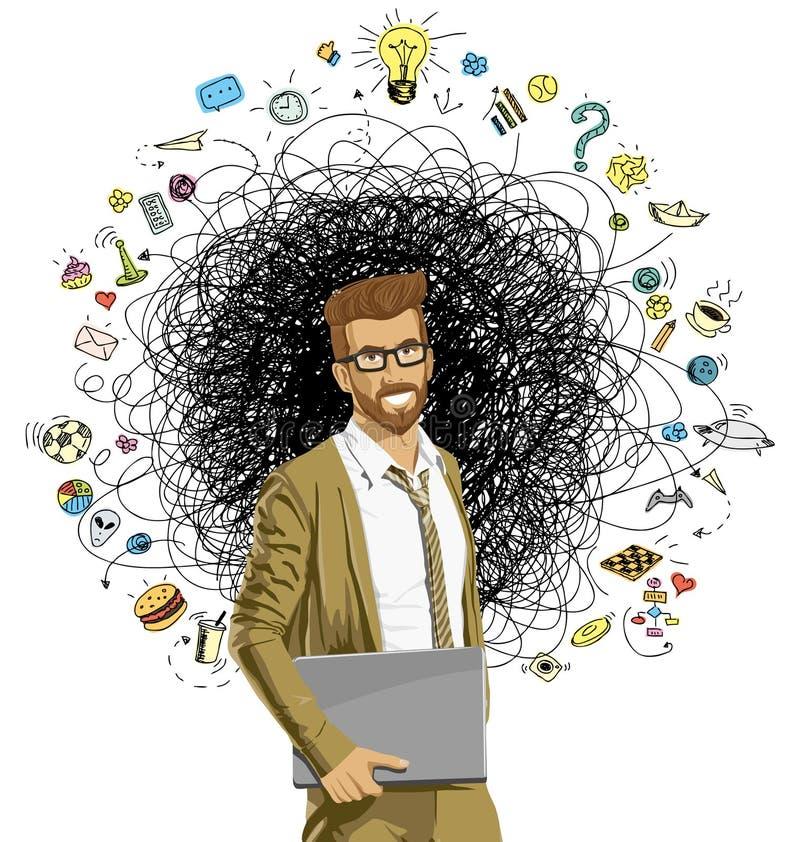 inconformista del G-hombre de negocios con ordenador-ORIGINAL stock de ilustración