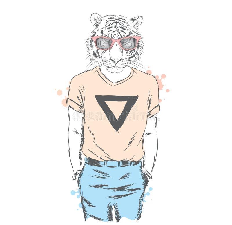 Inconformista del tigre de la animación que lleva una camiseta y los pantalones Ilustración del vector ilustración del vector