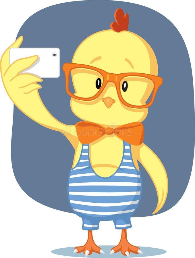 Inconformista Pascua Chick Takes Selfie con Smartphone ilustración del vector