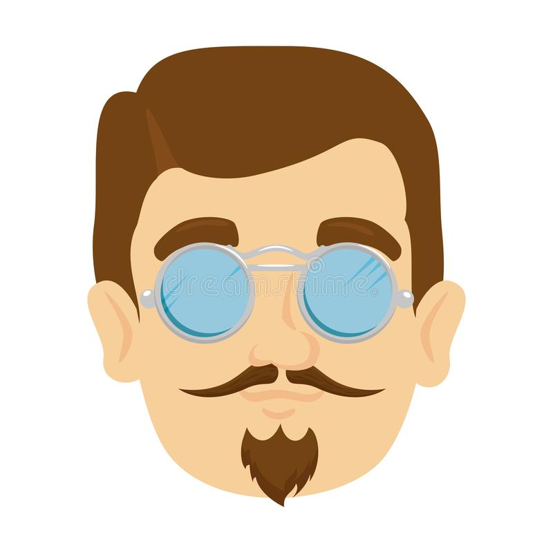 Inconformista principal del hombre con el bigote y los vidrios ilustración del vector