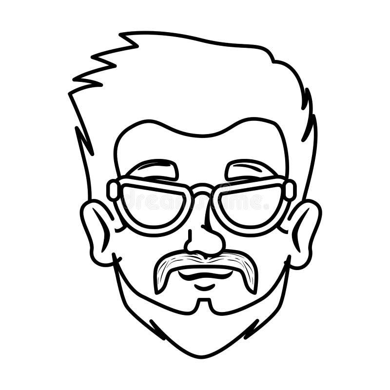 Inconformista principal del hombre con el bigote y los vidrios stock de ilustración