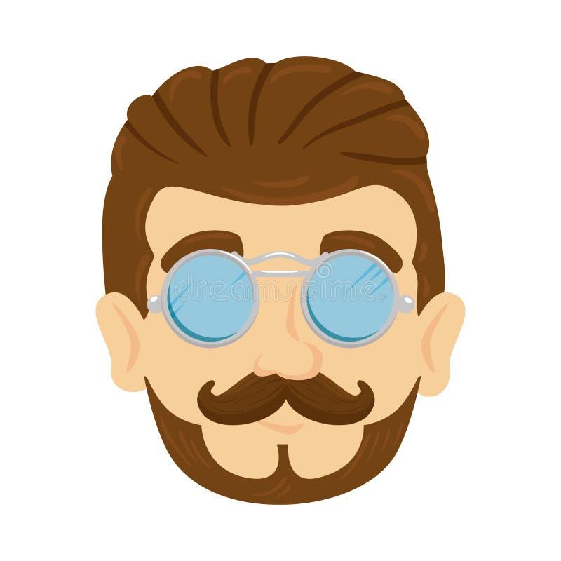 Inconformista principal del hombre con el bigote y los vidrios libre illustration