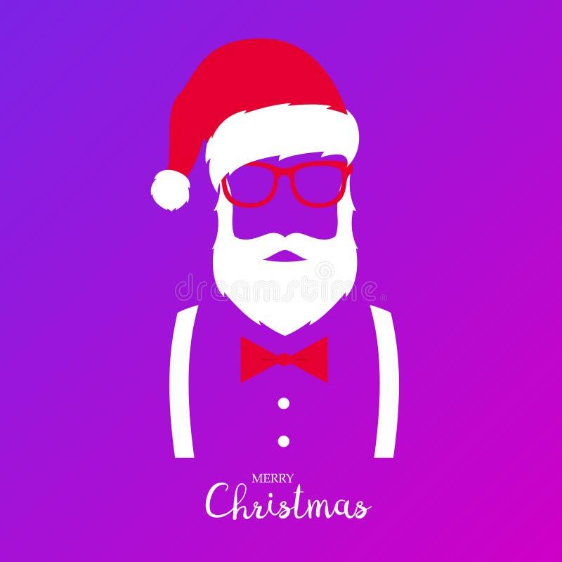 Inconformista Santa Claus Feliz Navidad y Feliz Año Nuevo stock de ilustración